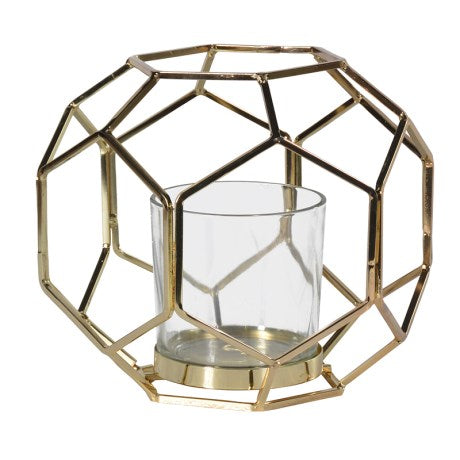 Hexagonal Gold and Glass Candle Holder