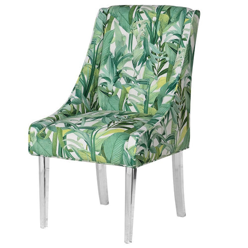 Leaf Pattern Armchair with Acrylic Legs