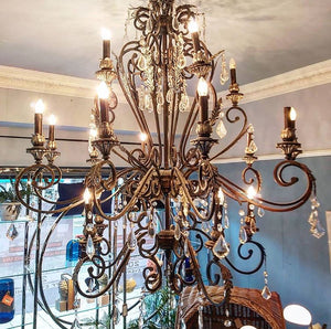 Burnished Metal & Pewter Detail Chandelier