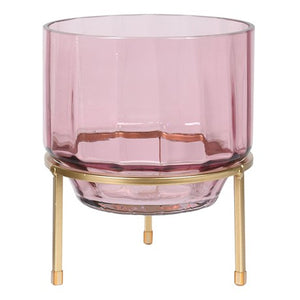 Pink Glass Hurricane T-light Holder