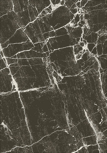 Marble Effect Rug Black & White