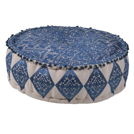 Blue Embroidered Pouf with Pompom