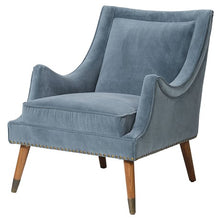 Load image into Gallery viewer, Blue Velvet Accent Chair