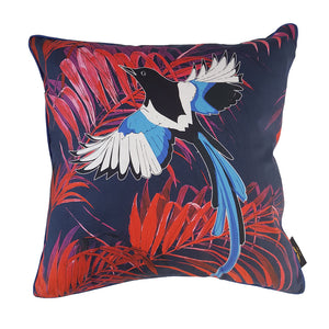 Magpie Cushion Navy & Red