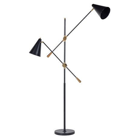 Black Metal Twin Lamp on Stand