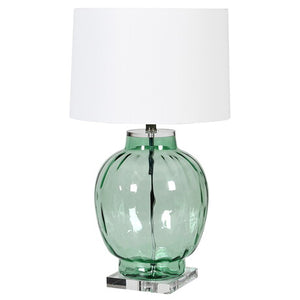 Green Glass Bubble Lamp with White Shade