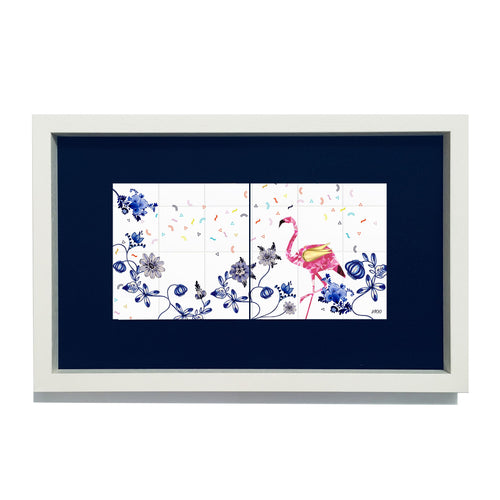 Flamingo in a Flock of Pigeons Limited Edition Framed Duo