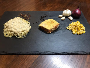 Lenten Special composed of baked salmon, crabmeat pasta and creamed corn.