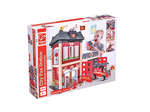 Hape Fire Station Playset| Wooden Dollhouse Kid's Toy