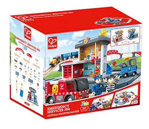 Hape Emergency Services HQ | 2-in-1 Police and Fire Station Complete Play Set with Vehicles and Action Figures