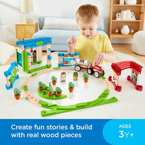 Fisher-Price Wonder Makers Design System Build Around Town Starter Kit - 75+ Building and Wooden Track Play Set for Ages 3 Years & Up