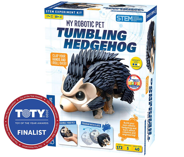 Thames & Kosmos My Robotic Pet - Tumbling Hedgehog Stem Experiment Kit, Build Your Own Sound Activated Tumbling, Rolling, Scurrying Pet Hedgehog