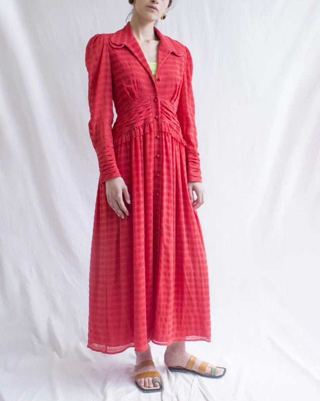 Yvette Dress Seersucker Red