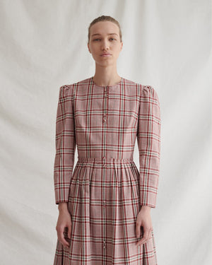 Quinn Dress Cotton Check Red and White - SPECIAL PRICE