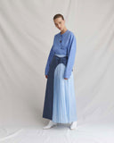Linda Skirt Wool and Satin Blue