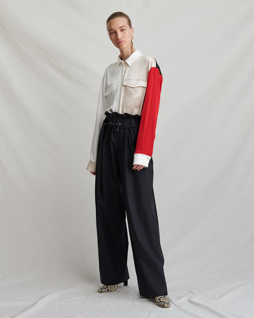 Ava Belted Trousers Pleated Wool Black