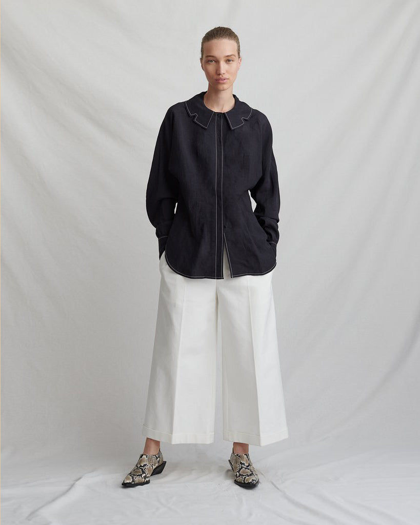 Carly Black Linen Shirt