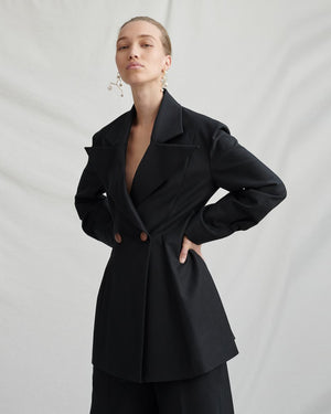 Maja Black Cotton Jacket