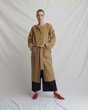 Simone Coat Wool Camel with Button Detail