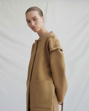 Simone Coat Wool Camel with Button Detail - WEBSHOP EXCLUSIVE