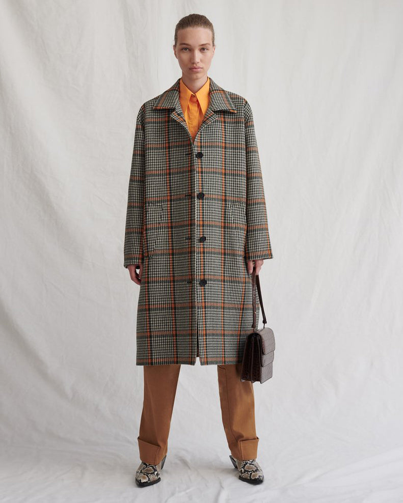Cary Coat Wool Check Brown