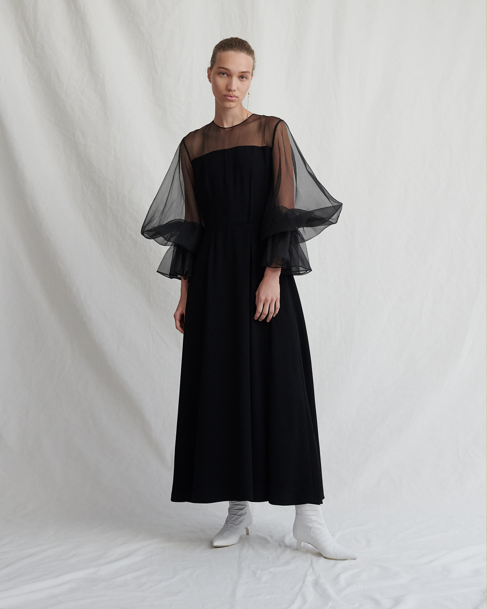 Lois Dress Crepe and Organza Black