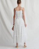 Issy Dress Chiffon Feather White