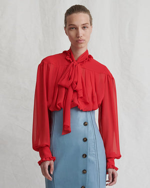 Lyn Blouse Chiffon Red