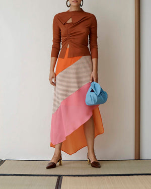 Bella Skirt Crepe Pink Coral With Check Orange