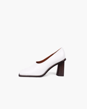 Dani Leather White with Crescent Heels