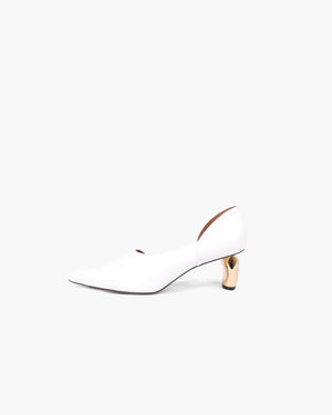 Casey Leather White with Tamarind Heels