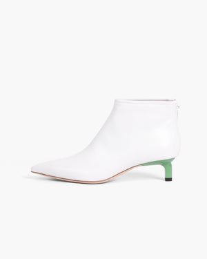 Marta Boots Leather White + Green Heels