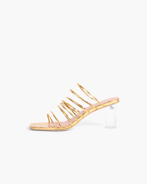 Zoe Sandal with Plexiglass Heel Gold