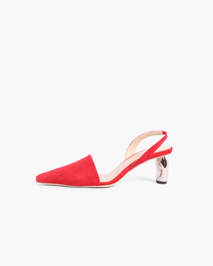 Conie Slingback Heel Suede Red