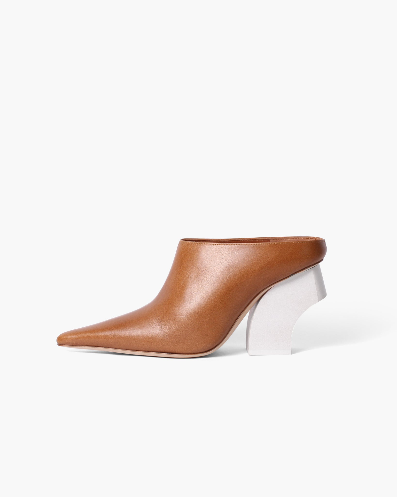 Yasmin Mules Leather Brown with Curved White Wooden Heels - SPECIAL PRICE