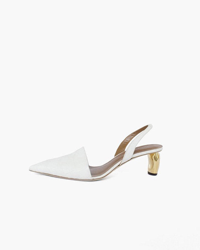 Conie Slingbacks Heels Croc White + Gold Heel