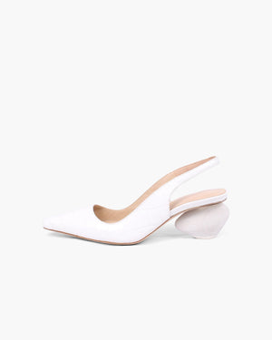 Margot Slingbacks Leather Croc White + White Wood Heels - SPECIAL PRICE