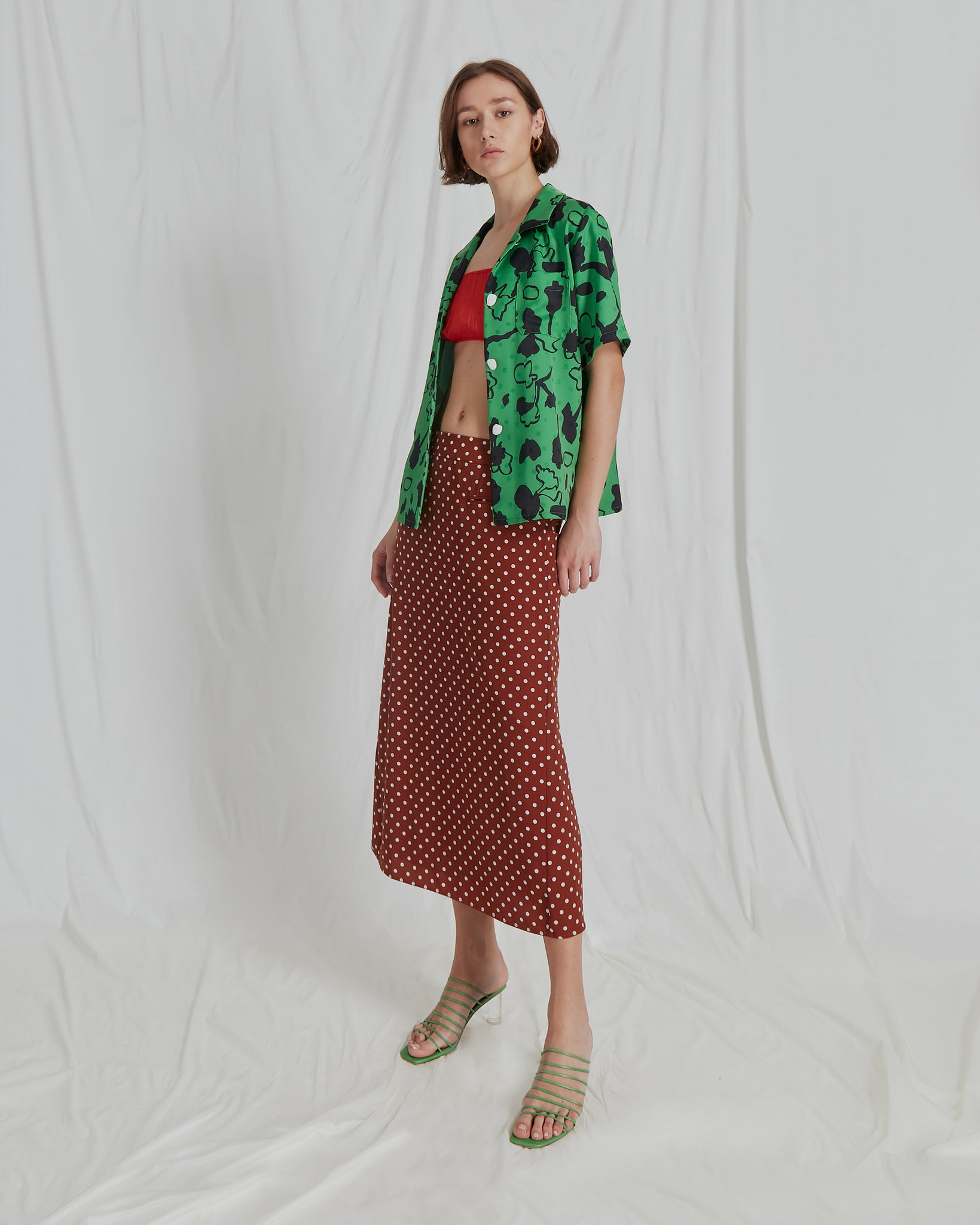 Mina Skirt Crepe Polka Dot Chesnut