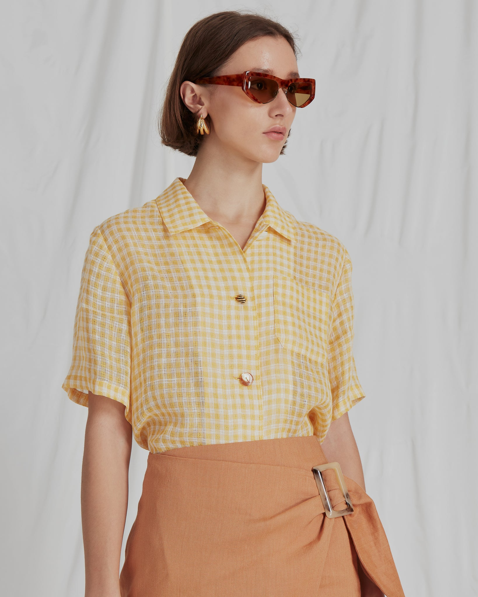 Mila Shirt Linen Voile Check Yellow