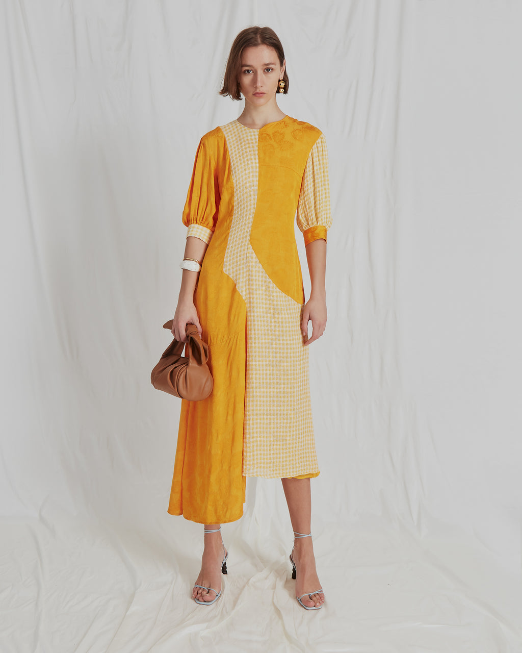 Dylan Dress Voile Check Yellow and Viscose Jacquard Marigold