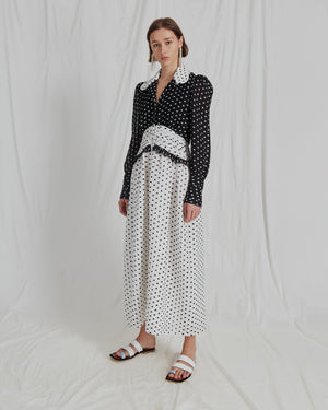 Yvette Dress Seersucker Polka Dot Black + White