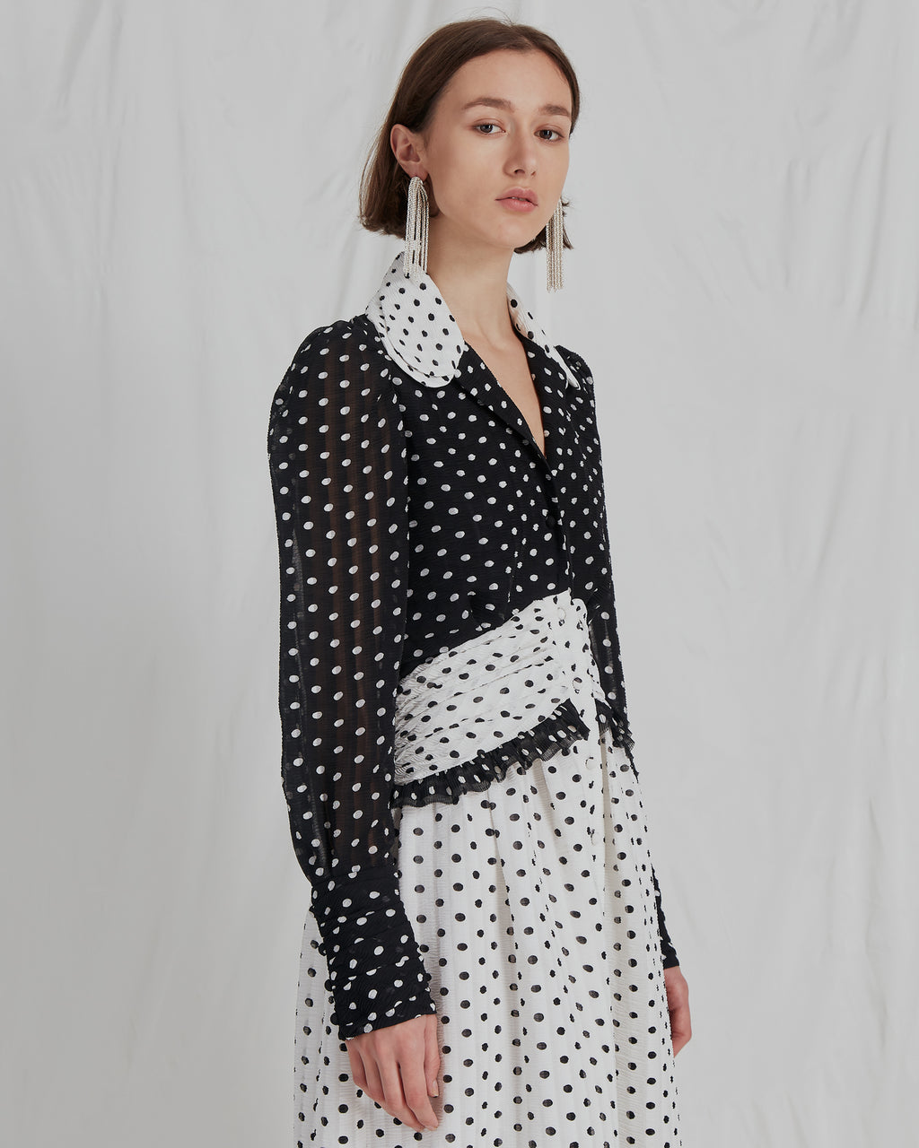 Yvette Dress Seersucker Polka Dot Black and White