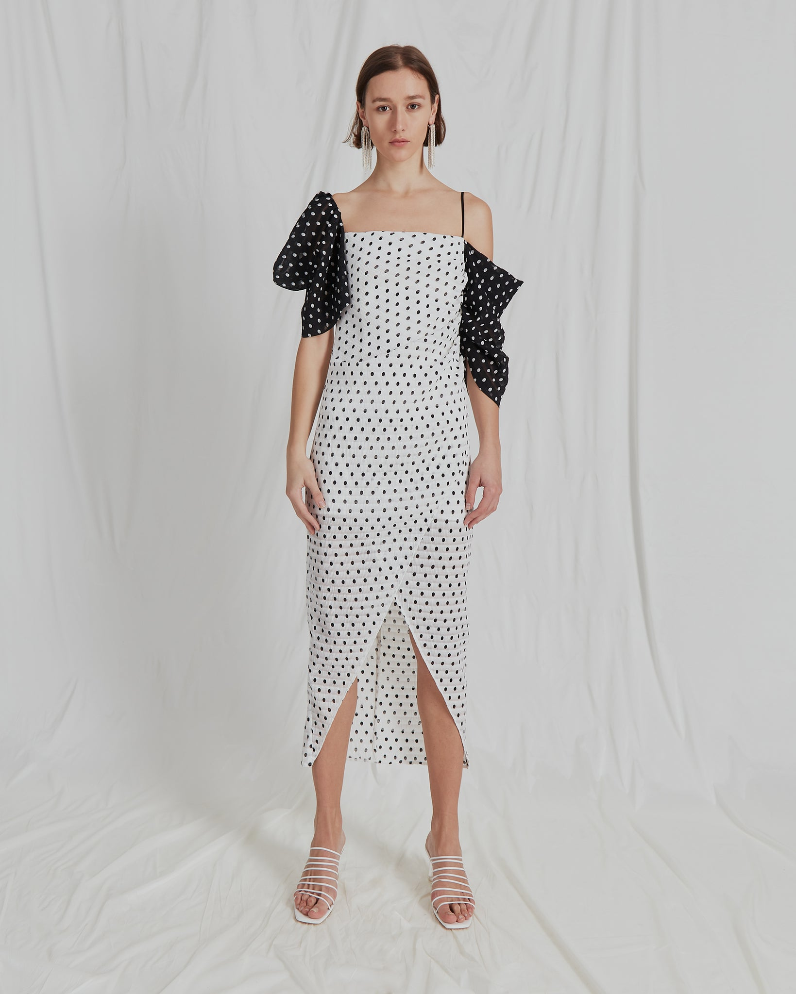 Layla Dress Seersucker Polka Dot Black and White - SPECIAL PRICE