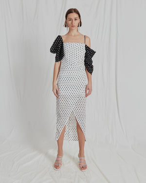 Layla Dress Seersucker Polka Dot Black and White - ADDITIONAL 10% OFF SALE PRICE