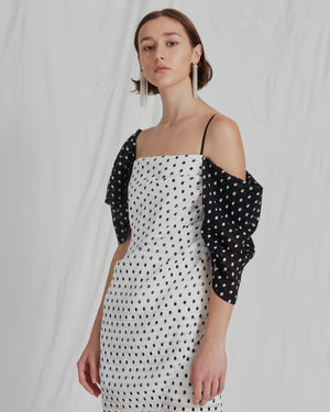 Layla Dress Seersucker Polka Dot Black + White