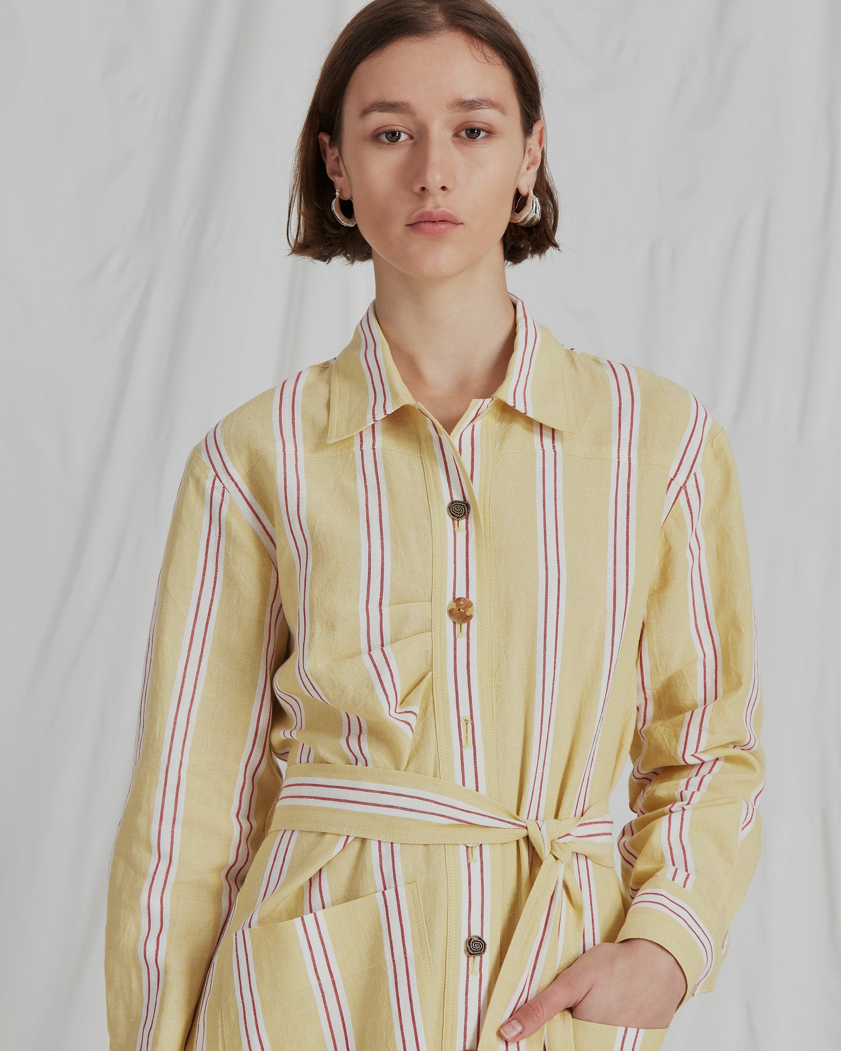 Madison Dress Linen Stripe Yellow
