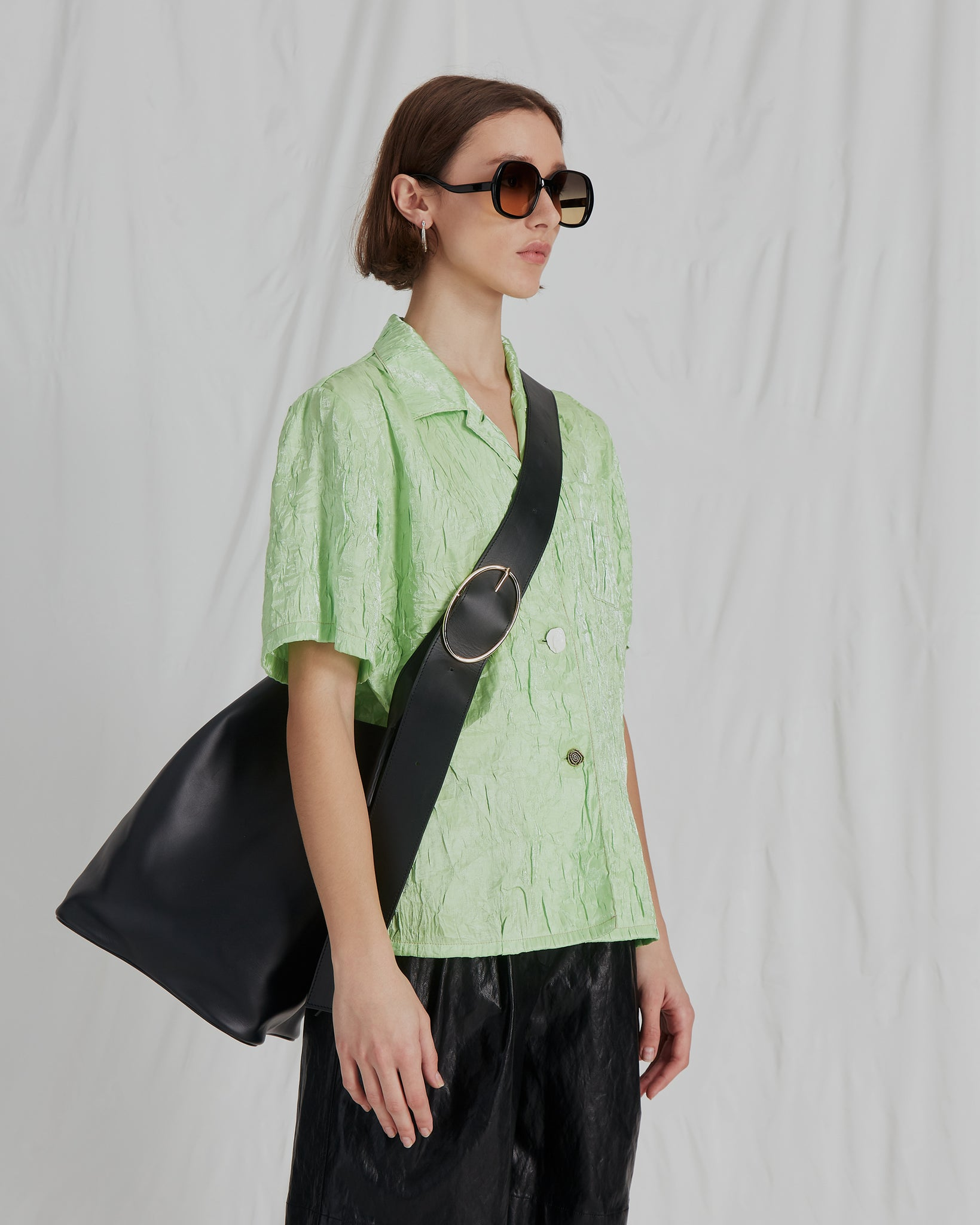 Mila Shirt Nylon Crinkle Lime - ADDITIONAL 10% OFF SALE PRICE