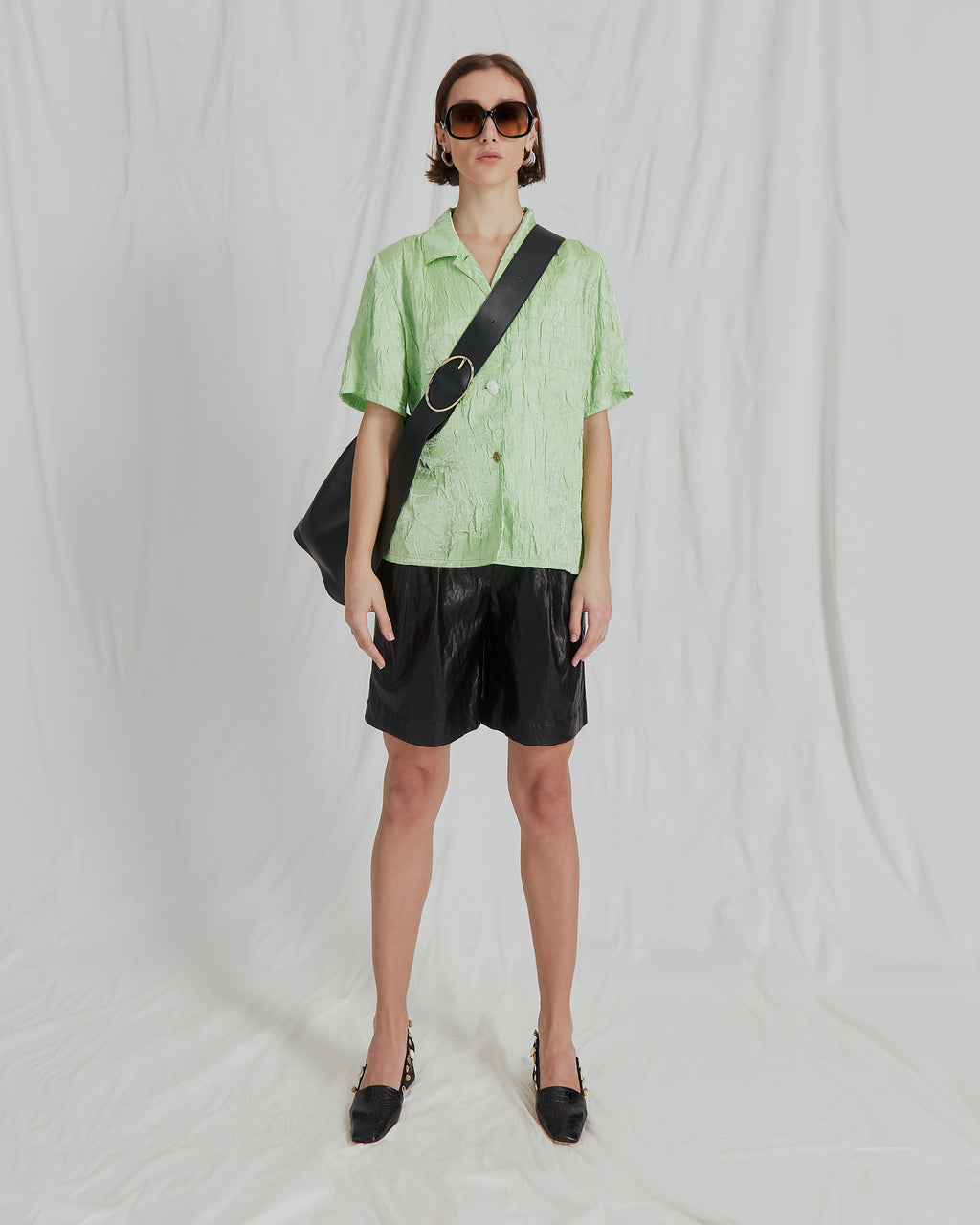 Mila Shirt Nylon Crinkle Lime - SPECIAL PRICE