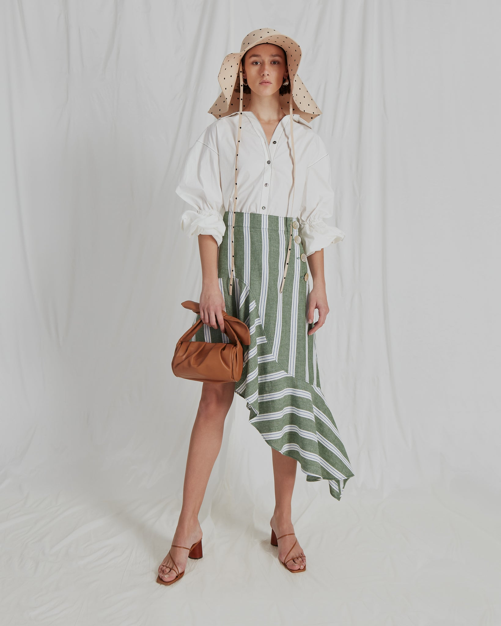 Ella Skirt Linen Stripe Green