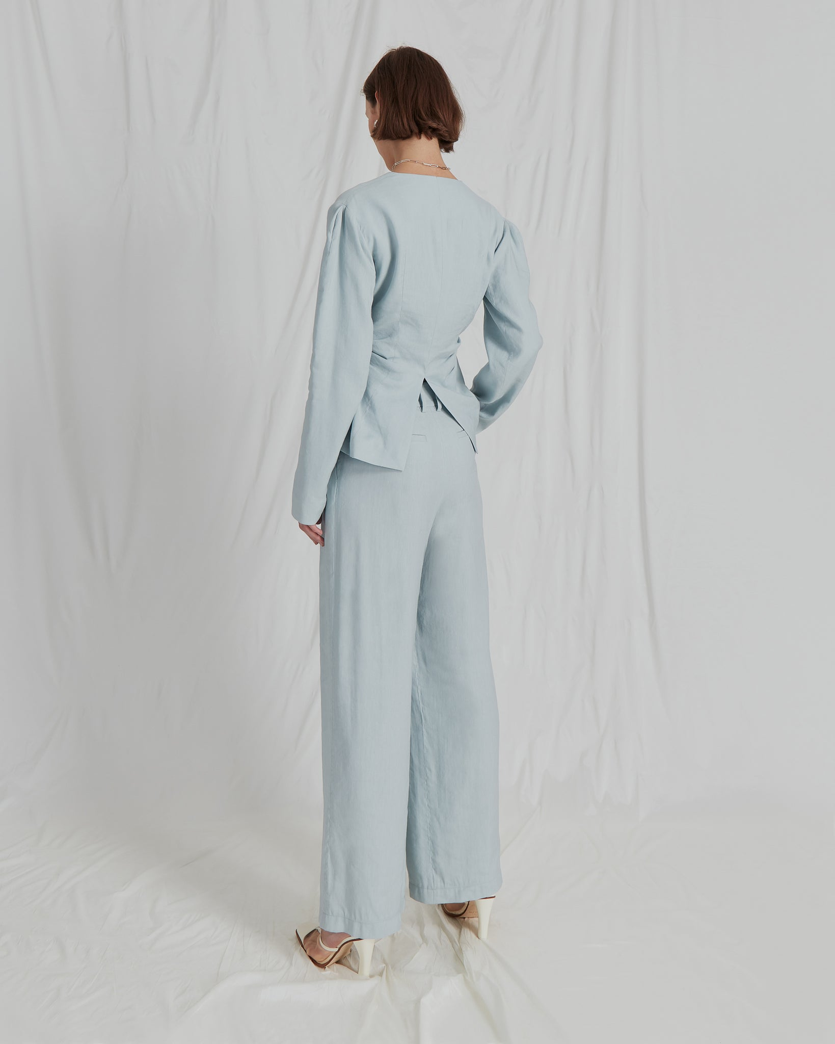 Eddie Trousers Linen Sea Blue